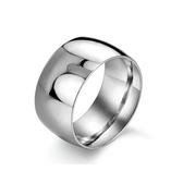 316L醫療鋼 極寬弧形亮面 寬版戒指-銀 防抗過敏 不退色