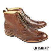 【CR CERINI】時尚雕花雅痞半筒靴 咖啡(76932-DBR)