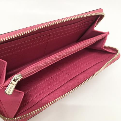 【COACH】馬車系列立體LOGO前口袋ㄇ型拉鍊長夾(玫瑰粉)