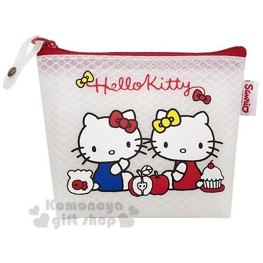 〔小禮堂〕Hello Kitty 防水網狀船形零錢包《白紅.mimmy》收納包.萬用包 4713791-97063