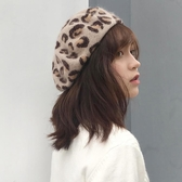 豹紋貝雷帽女日系秋冬天畫家帽復古加厚保暖【聚寶屋】