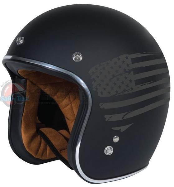 [安信騎士] 美國 TORC T50 彩繪 Flag 消光黑 半罩 哈雷 復古帽 雙D扣