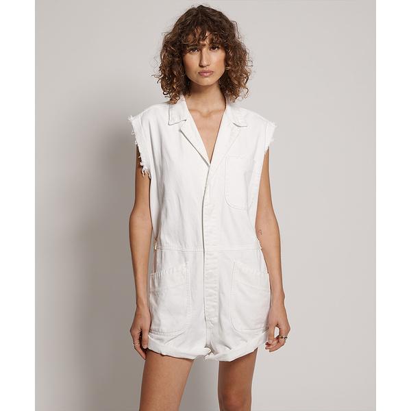 ONETEASPOON NATURAL WHITE  SAFARI BANDIT OVERALL  無袖連身短褲 -白(女)
