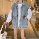 大碼牛仔馬甲女春秋寬鬆工裝無袖外套坎肩新款背心上衣潮  全館免運