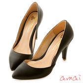 amai法式素面低口尖頭高跟鞋 黑
