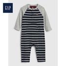 Gap男嬰兒 條紋亨利領插肩袖連體衣496698-酒紅色