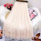 植絨網紗大擺拼接半身裙女2021春款高腰顯瘦碎花紗裙仙女百摺裙子 韓國時尚週
