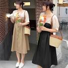 (現貨+預購FUWAFUWA)-加大尺碼氣質拼接撞色短袖洋裝