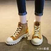 大碼馬丁靴女2019新款秋季單靴短靴女英倫風短筒靴子潮 XN7282【VIKI菈菈】