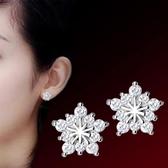 聖誕耳釘五角星雪花韓國版滿鑽防過敏女鍍銀耳飾品《小師妹》ps412
