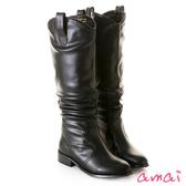 amai微寬筒-V型修飾抓皺低跟長靴 黑