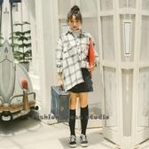 依多多 韓版寬鬆復古格子長袖襯衫