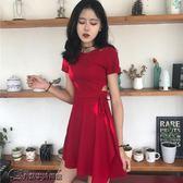 韓國chic風復古小心機性感鏤空顯瘦系帶小黑裙夏季修身短袖連衣裙【超低價狂促】