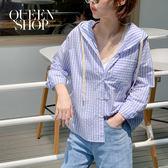Queen Shop【01023402 】連帽配色條紋襯衫 兩色售*現+預*