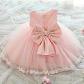 公主裙女童夏裝連身裙中大童寶寶周歲蓬蓬裙花童婚紗禮服 三色可選 全館免運 尺寸80-150cm