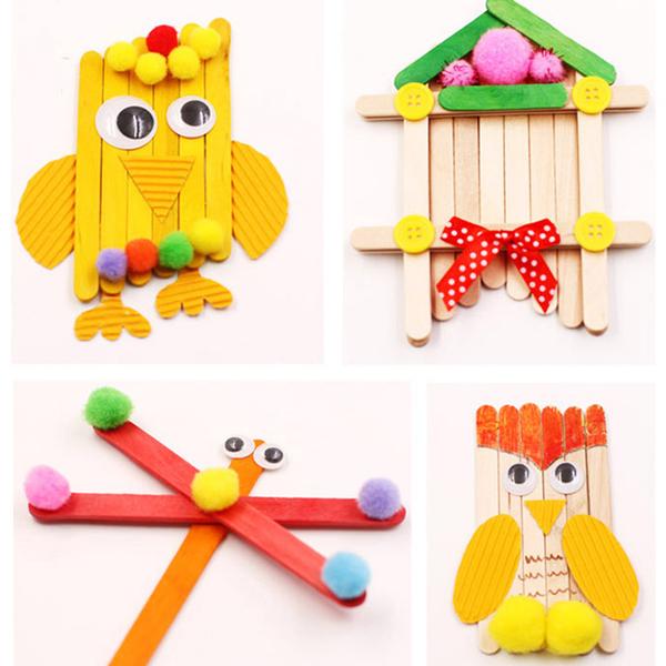 【BlueCat】彩色 冰棒棍材料包 (50入) (11.4*1cm) 木棍 木棒 冰棍 雪糕棍 美勞 兒童 DIY