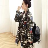 迷彩外套-韓版時尚寬鬆復古花朵女風衣2色71aj8【時尚巴黎】