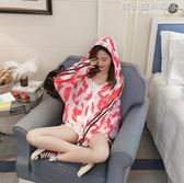 夏季大碼防曬衣女學生韓版寬鬆短款沙灘防曬服戶外印花防曬衫外套 韓小姐