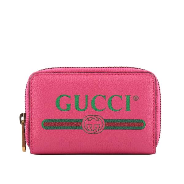 【GUCCI】Logo Print ㄇ形拉鍊卡夾/零錢包(桃粉色) 496319 0GCAT 8840 GU27000007