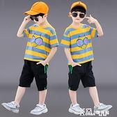 男童套裝-男童裝男童夏裝套裝2021新款兒童帥氣中童洋氣兩件套夏季男孩潮裝