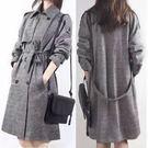 長大衣風衣開衫外套保暖M-2XL/韓國韓系中長款雙排扣大碼毛呢大衣柏NA107-B.8057依品國際