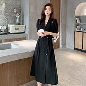 短袖洋裝-西裝領雙排扣收腰大碼女連身裙74az25【巴黎精品】