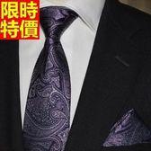 桑蠶絲領帶 男配件-奢華大氣紫色花紋商務紳士手打領帶66ae10[巴黎精品]