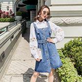 女裝2018春季新款正韓牛仔背帶裙子初戀復古小心機顯瘦港味洋裝限時八九折