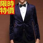 韓版 西裝外套 男西服 亮麗隨意-金絲絨美式風休閒典型65b24[巴黎精品]