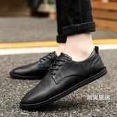 皮鞋 男士皮鞋秋季新品正韓鞋休閒鞋子男黑色商務百搭英倫小皮鞋