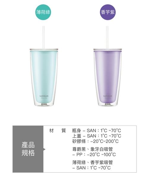 樂扣樂扣 簡約雙層輕量大容量吸管杯/750ml/香芋紫(HAP507PUP)
