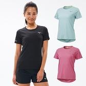 MIZUNO 女款路跑短袖T恤 運動上衣 拼接透氣網布 吸汗快乾 夜間反光 J2TA1202 21SS 【樂買網】