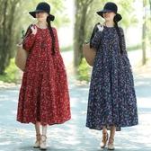 秋冬季新款民族風棉麻碎花磨毛復古長袖洋裝連身裙洋裝 週年慶降價