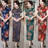 媽媽禮服2021新式時尚中國風演出走秀禮服旗袍宴會媽媽女裝長款大碼旗袍 童趣屋  新品