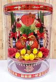 大圓桶圓形金蔥甘蔗帶路雞-紅金蔥-女方嫁妝用品【皇家結婚用品百貨】