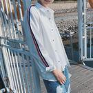 春季新款男士港仔文藝袖襯衫韓版潮流學生帥氣條紋修身襯衣外套 免運直出 交換禮物
