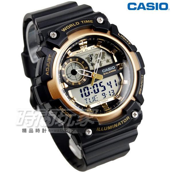 CASIO卡西歐 AEQ-200W-9A 世界地圖設計雙顯示休閒錶 黑金 男錶 AEQ-200W-9AVDF