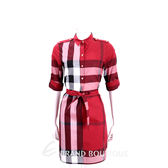 BURBERRY 紅色格紋棉質襯衫式洋裝(附腰帶) 1640063-54