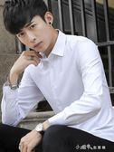夏季白襯衫男士長袖韓版修身純色商務寸衫青年職業正裝黑色襯衣男 小確幸生活館