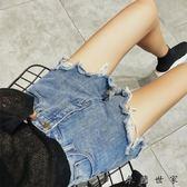 牛仔超短褲女褲高腰寬鬆闊腿熱褲