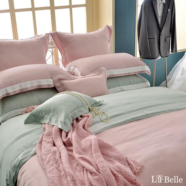 義大利La Belle《法式美學》特大天絲拼接防蹣抗菌吸濕排汗兩用被床包組-粉色