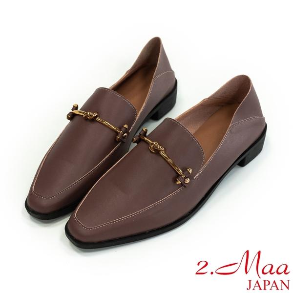 2.Maa 時尚設計‧打蠟牛皮扣環樂福跟鞋 - 咖啡