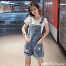 牛仔背帶短褲女夏韓版寬鬆新款時尚小個子可愛闊腿五分褲