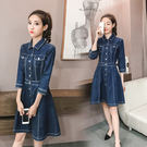 VK精品服飾 韓國風復古氣質修身七分袖牛仔裙長袖洋裝
