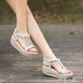 夏駱駝牌涼鞋女坡跟高跟鞋厚底鬆糕水鑚魚嘴平底波西米亞女鞋      芊惠衣屋