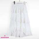 【SHOWCASE】韓版細褶不規則層次顯瘦中長裙(白)
