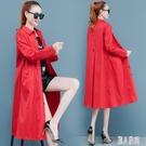 紅色外套女韓版寬鬆新款春秋流行中長款POLO領薄款過膝風衣潮HX1393【麗人雅苑】