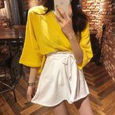梨卡 - 初秋韓國新款顯瘦純色鬆緊縮腰抽繩高腰褶皺毛邊短褲B969