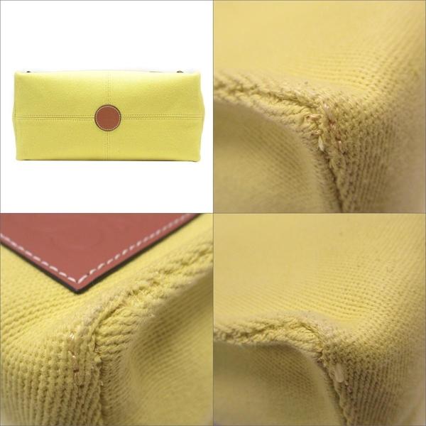 LOEWE 羅威 黃色帆布X焦糖色小牛皮手提肩背包 Cushion Tote Bag 【BRAND OFF】