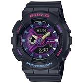 CASIO 卡西歐 BABY-G Decora裝飾系風格雙顯錶-黑 BA-110TM-1A